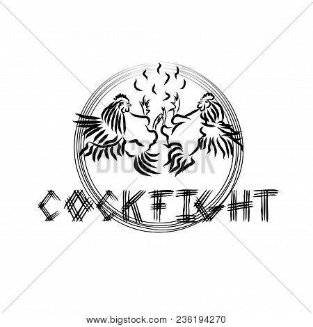 Cockfighting - Vector Simple Logo. A Symbolic Fight Between Two Cocks Against The Background Of Cont