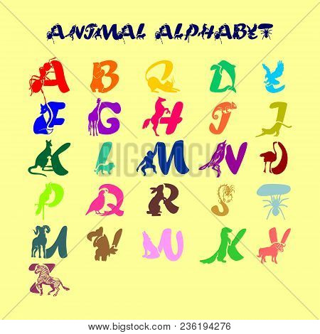 Full Childish Cute Colorful Vector Alphabet With Animals. All Letters Of The English Abc In The Form