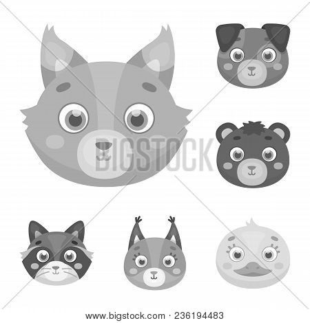 Muzzles Of Animals Monochrome Icons In Set Collection For Design. Wild And Domestic Animals Vector S
