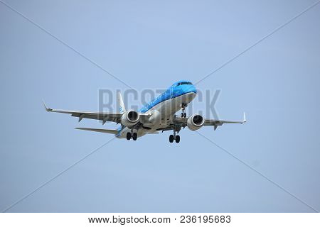 Amsterdam The Netherlands - April, 7th 2018: Ph-ezs Klm Cityhopper Embraer Erj-190 Approaching Schip