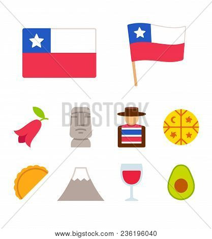 Chile Icons Set In Flat Cartoon Style. Traditional Chilean Culture Symbols, Isolated Vector Illustra