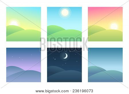 Landscape At Different Times Of Day, Daily Cycle Illustration. Beautiful Hills At Morning, Day And N