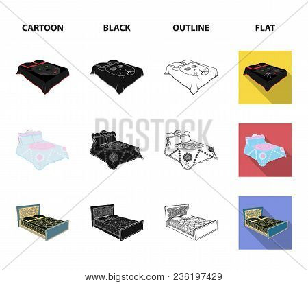 Different Beds Cartoon, Black, Outline, Flat Icons In Set Collection For Design. Furniture For Sleep