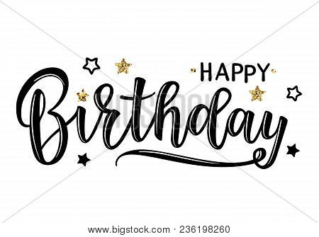 Vector Illustration Of A Happy Birthday Invitation With Stars. Greeting Card With