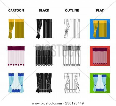 Curtains, Drapes, Garters, And Other  Icon In Cartoon, Black, Outline, Flat Style. Textiles, Furnitu