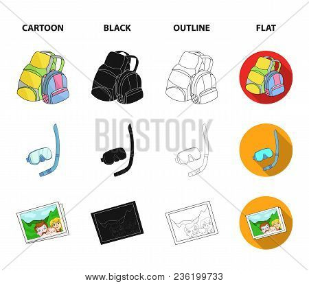 Travel, Vacation, Backpack, Luggage .family Holiday Set Collection Icons In Cartoon, Black, Outline,