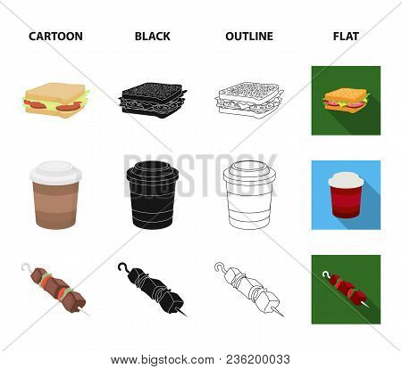 Sandwich, Coffee, Shish Kebab, Burger.fast Food Set Collection Icons In Cartoon, Black, Outline, Fla