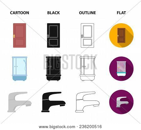 Door, Shower Cubicle, Mirror With Drawers, Faucet.furnitureset Collection Icons In Cartoon, Black, O