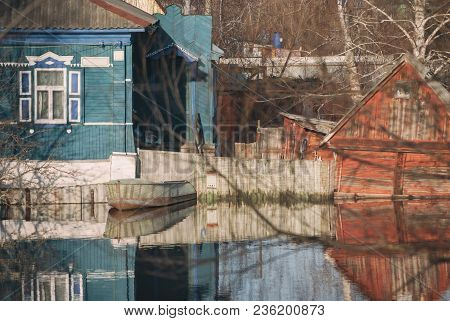 Russia, Balashov April 14, 2018. Private Houses Barn Shed Sunken Underwater Flooded During The Sprin