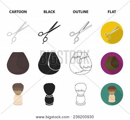 Scissors, Brush, Razor And Other Equipment. Hairdresser Set Collection Icons In Cartoon, Black, Outl