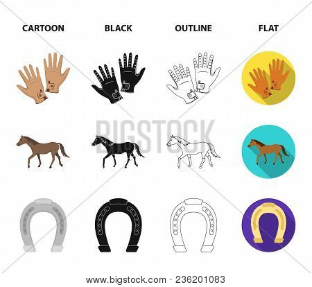 Race, Track, Horse, Animal .hippodrome And Horse Set Collection Icons In Cartoon, Black, Outline, Fl