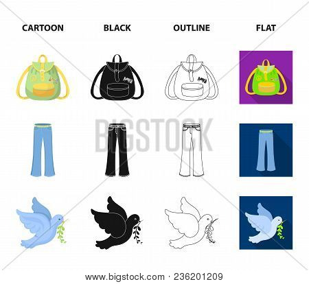A Cannabis Leaf, A Dove, Jeans, A Backpack.hippy Set Collection Icons In Cartoon, Black, Outline, Fl