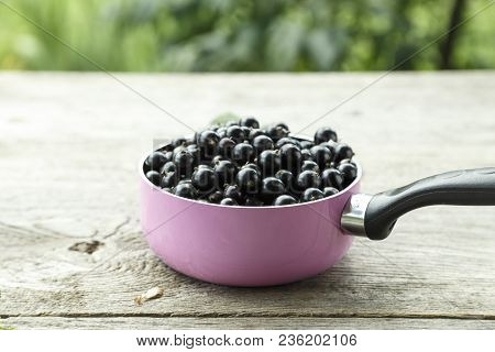 Crop Currant. Currants In A Pink Pot On A Wooden Background. In The Background Is A Currant And Leav