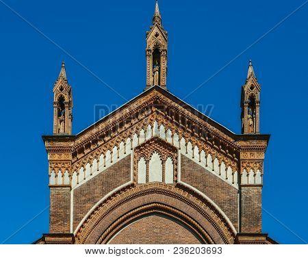 The Front Facade Of Santa Maria Del Carmine Church In Brera Neighbourhood Of Milan