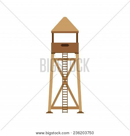 Tower Observation Icon Post Vector Illustration Background. Lifeguard Design Set Isolated Sea Summer