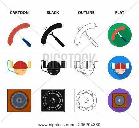 Fried Sausage, Beer Helmet, Cocktails, Speaker.pub Set Collection Icons In Cartoon, Black, Outline,