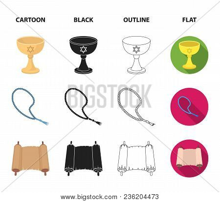 A Cup Of Wine, Islamic Beads, Ten Commandments, Tanakh. Religion Set Collection Icons In Cartoon, Bl
