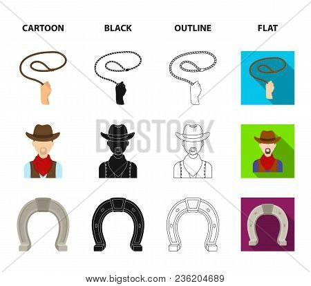 Hand Lasso, Cowboy, Horseshoe, Whip. Rodeo Set Collection Icons In Cartoon, Black, Outline, Flat Sty