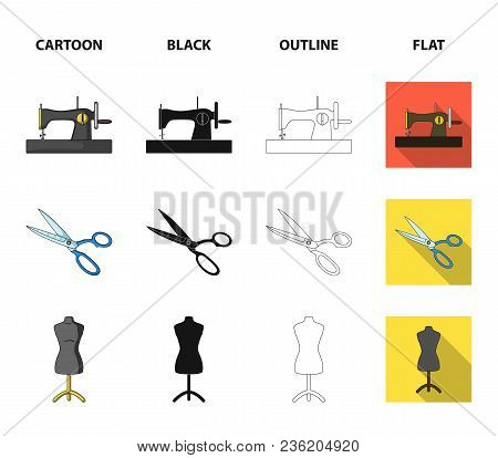 Manual Sewing Machine, Scissors, Maniken, Thimble.sewing Or Tailoring Tools Set Collection Icons In