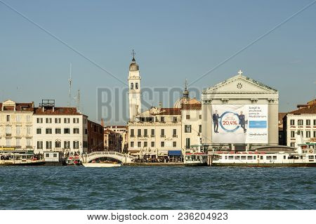 Venice, Italy - November 12, 2016: Canal In Venice Leading To The Saint George Of The Greeks (san Gi