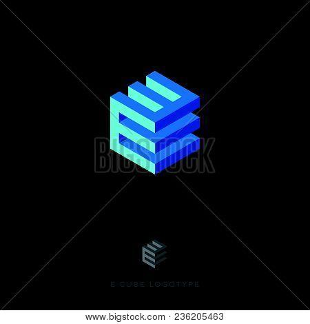 E Cube Blue Logo. Building Logo. E Monogram. E Cube Blue Logo On The Dark Background.