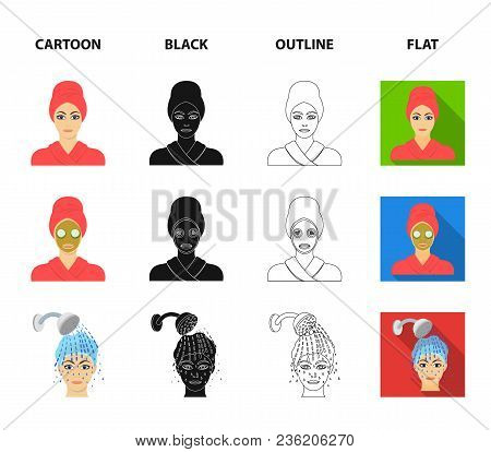 Hands, Hygiene, Cosmetology And Other  Icon In Cartoon, Black, Outline, Flat Style.bath, Clothes, Me