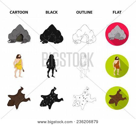 Ancient, World, Stone Age .stone Age Set Collection Icons In Cartoon, Black, Outline, Flat Style Vec