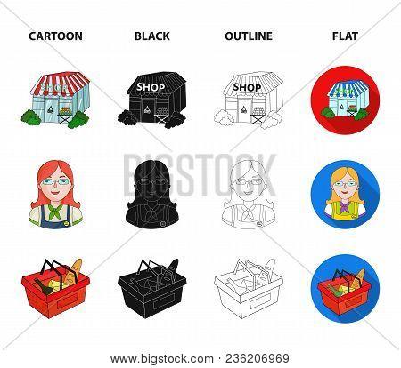 Salesman, Woman, Basket, Plastic .supermarket Set Collection Icons In Cartoon, Black, Outline, Flat
