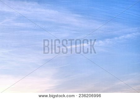 The Sky Background. The Background Of The Sky With A Strange Variety Of Clouds - From Pinnacle To Cu