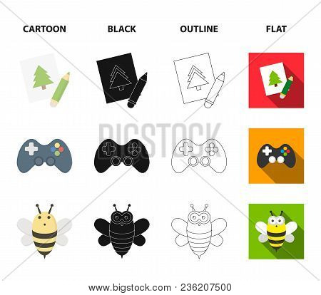 Picture, Dzhostik, Bee, Nipple.toys Set Collection Icons In Cartoon, Black, Outline, Flat Style Vect