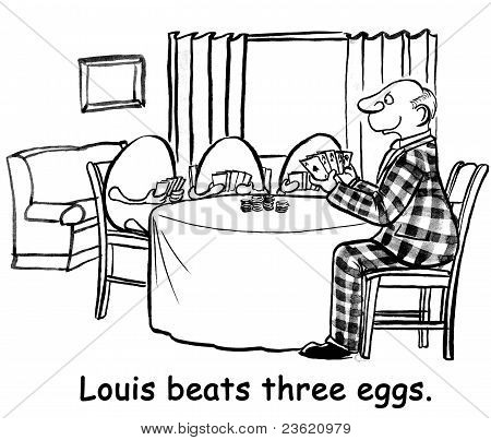 Louis beats three eggs.