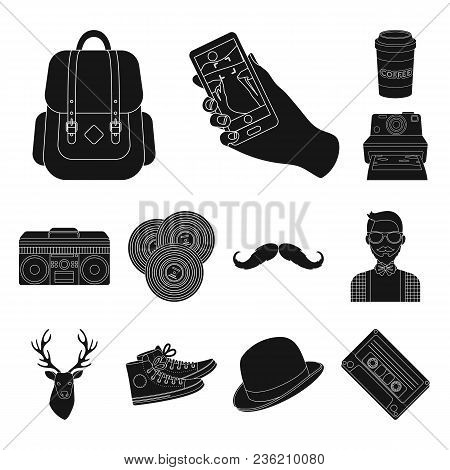 Style Hipster Black Icons In Set Collection For Design. Hipster Attributes And Accessories Vector Sy