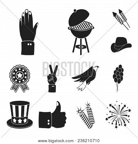 Day Of Patriot, Holiday Black Icons In Set Collection For Design. American Tradition Vector Symbol S