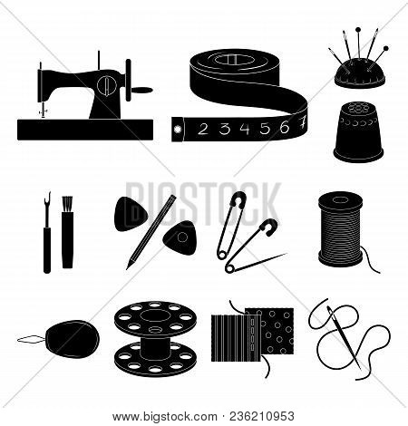 Sewing, Atelier Black Icons In Set Collection For Design. Tool Kit Vector Symbol Stock  Illustration