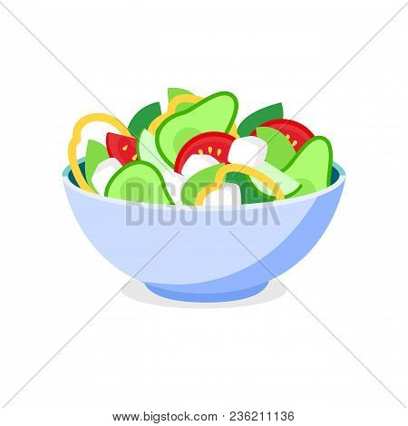 Fresh Greek Salad Bowl Plate. Vector Greek Salad Flat Icon.