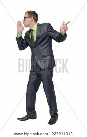 Businessman Tells A Secret Information In The Ear To Another And Points By His Finger Forward Isolat