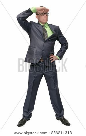 Successful Confident Businessman Looking Ahead Isolated On White Background. Spy Detective Agent. Se