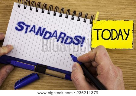 Word Writing Text Standards Motivational Call. Business Concept For Quality Controls Regulations Gui