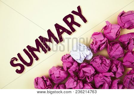 Text sign showing Summary. Conceptual photo Brief Statement Abstract Synopsis Concise Abbreviated version written Plain background Crumpled Paper Balls next to it. poster