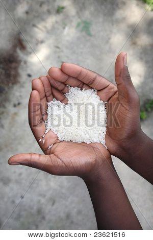 Hände halten Reis