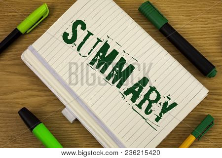 Text Sign Showing Summary. Conceptual Photo Brief Statement Abstract Synopsis Concise Abbreviated Ve