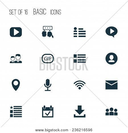 Media Icons Set With Feed, Dialog, Wi-fi And Other Questionnaire Elements. Isolated Vector Illustrat