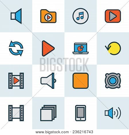 Multimedia Icons Colored Line Set With Mute, Video, Loudspeaker And Other Synchronize Elements. Isol