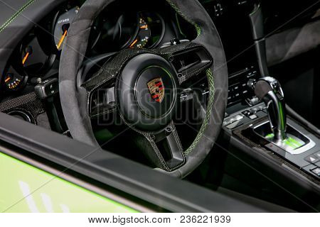NEW YORK CITY-MARCH 28: Porsche 911GT3RS shown at the New York International Auto Show 2018, at the Jacob Javits Center. This was Press Preview Day One of NYIAS, on March 28, 2018.