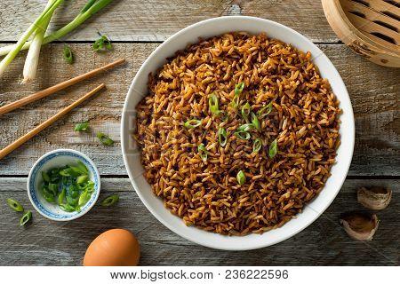 Delicious Plain Fried Rice Green Onion Garnish.