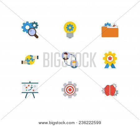 Partnership Icons Set. Technical Strategy And Partnership Icons With Cooperation, Achievement And Te