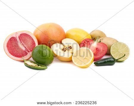 The Ripe And Juicy Group Of Fresh Citrus Fruits, Isolated On A White Background. Citrus Fruits And V