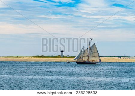 Wo-masted Yacht And Beautiful Landscape Of Ocean Beach Cape Cod Massachusetts Us