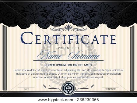 Certificate (horizontal) In The Style Of Vintage, Rococo, Baroque In The Form Of A Scene With Scenes