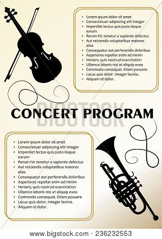 Concert Program Template With Violin And Trumpet Silhouette, Text Frames, Beige Background In Old Pa